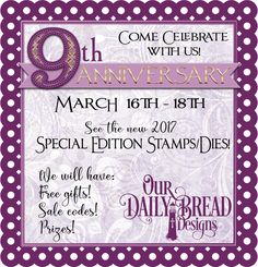 Come Celebrate with Us March 16 - 18, 2017!