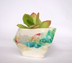 Small green & white geometric planter truncated by EstherGriffith