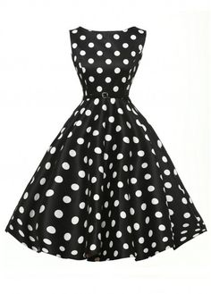 Vintage 50S Style Black  amp  White Polka Dot Print Swing Dress 632d4c49a55b