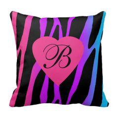 Personalized Monogram Rainbow Zebra Pillow. Gift for teen girl #decampstudios