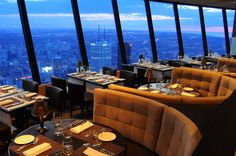 360 Restaurant atop the CN Tower. Very good dining. Restaurant revolves with great views of Toronto.  Loved it!!!