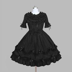 Fuchsia Floral Short Sleeve Tea Length Gothic Lolita Party Dress Women SKU-11402642