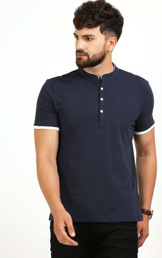 Description Code Fabric Material Cotton Pattern Type Solid Color Colour Navy Blue And White Style Casual Sleeves Half Sleeves Neckline Crew Neck Fit Type Regular Fit Size Guide Below are body measurement S M L XL XXL Chest Size 36 Mens Stylish T Shirts, Casual T Shirts, Boys T Shirts, Mens Tees, Camisa Polo, Polo Shirt Design, Half Sleeve Shirts, Navy Blue T Shirt, Mens Suits