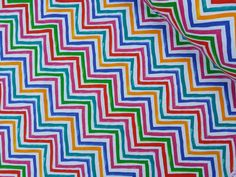 Funky rainbow colourful Stripes cotton print upholstery material crafts curtains cushions blinds Lamp shades fabric Per Metre