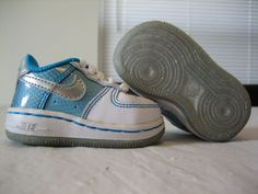 Baby Girls Nike Air Force I (AF1) Blue White & Silver Shoes Size 2C $17.88