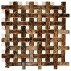 Sample Basket Weave Dark Emperador With Crema Marfril Dot 1/4 a - Contemporary - Tile - by Glass Tile Store