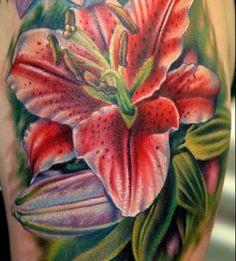 tattoo idea, tattoo flowers, nikko hurtado, color, flower lili, flower tattoos, sleev idea, makeup tattoo, lili tattoo