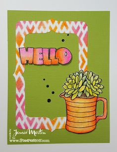 Stamp This! Hello card with stamps, stencils and dies from #Stampendous #cre8time