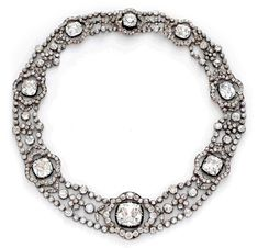 An Antique Diamond and Silver-topped Gold Necklace, circa 1870. Diamonds weighing approximately 110.00 carats