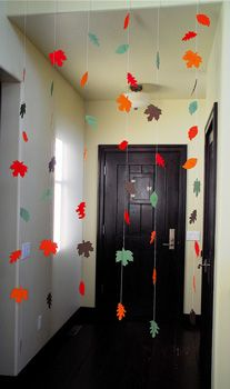 a round-up of thankful crafts for Thanksgiving; this image via Full Circle Fall Bunting, Fall Garland, Garland Decoration, Leaf Garland, Hanging Garland, Class Decoration, Autumn Activities, Class Activities, Holiday Crafts