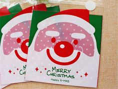 Festive Santa Gift Bags Cello Bags Self-adhesive Cookie bags - Favors Bags Set of 20 bags CB9 14x14 cm   $2.95 buy from http://www.charmtape.com  cello #cellophane #bags #cookiebag #plastic #bags #bag #festive #xmas #christmas #deer #red #holiday #fatherchristmas #santa #claus #xmas  $2.95 buy from http://www.charmtape.com