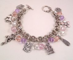Disney Tangled Inspired Lilac, Pink Beaded Charm Bracelet on Etsy, $22.38