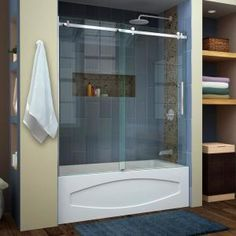 Delta Classic 400 Curve 60 in. x 62 in. Frameless Sliding Tub Door in Stainless-B55910-6030-SS - The Home Depot Tub Shower Doors, Bathtub Doors, Frameless Sliding Shower Doors, Shower Enclosure, Sliding Doors, Bathtub Shower, Shower Niche, Entry Doors, Whirlpool Bathtub