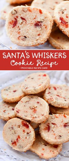 This Santa's Whiskers Cookie Recipe are always a hit and are the perfect cookie for Holiday Cookie Exchanges! from Jamie Sanders- Scatte. Vegan Christmas Cookies, Christmas Cookie Exchange, Holiday Cookies, Christmas Desserts, Christmas Treats, Christmas Goodies, Christmas Parties, Christmas Candy, Holiday Treats