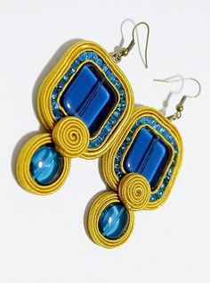 Jewelry Soutache Earrings Soutache Earrings, Drop Earrings, Blue Yellow, Handmade, Necklaces, Stud Earrings, Bangle Bracelets, Soutache Jewelry, Earrings