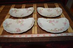 "4 Haviland France Limoges Pink Floral Crescent Bone Dishes 5 5/8""x3 1/4"" #HavilandLimogesCo"