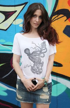 Hey, I found this really awesome Etsy listing at https://www.etsy.com/listing/119316018/octopus-with-guitar-cute-woman-tunic