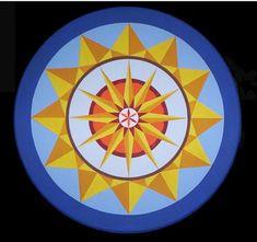 Pennsylvania Dutch Hex Signs Sun Wheel for warmth and fertility.