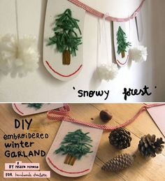 Snowy Forest Embroidered Garland Tutorial by Misako Mimoko