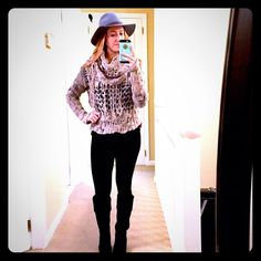 FP Gray Shredded Sweater Awesome free people gray shredded sweater. Super warm and cozy. The size says large but it fits me and I'm a small. Perfect condition! (I think I've only worn this twice) Free People Sweaters Cowl & Turtlenecks