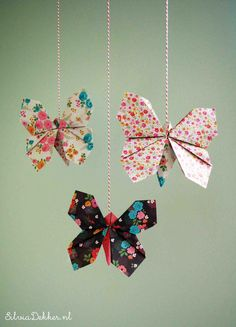 Origami butterflies made with paper from the Flow book for paperlovers by Silvia Dekker