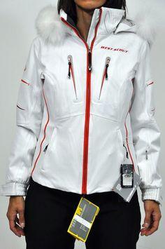 Giacca da sci West scout in bianco con dettagli in rosso, con cappuccio removibile con bordo in pelo