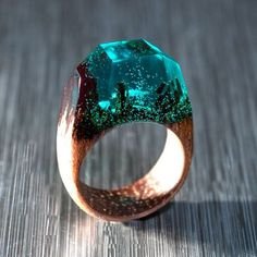 Green Ring Resin and Wood - Exotic Wood Ring with Multi Faceted Transparent Green Resin Top Makes Cool Wooden Gift for Wife Resin Ring, Resin Jewelry, Wood Resin, Resin Art, Do It Yourself Jewelry, Handmade Rings, Wooden Gifts, Wood Rings, Schmuck Design