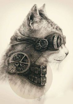 Steampunk art is often filled with clockwork elements, mostly depicted in yellow metals such as brass. Steampunk tattoos are very rare, and . Gato Steampunk, Steampunk Drawing, Steampunk Kunst, Steampunk Animals, Steampunk Artwork, Steampunk Wallpaper, Steampunk Images, Steampunk Goggles, Victorian Steampunk