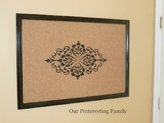 Stenciled Bulletin Board - I don't think I would pin anything to this.