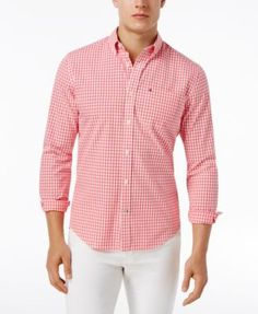 Tommy Hilfiger Men's Long-Sleeve Twain Check Classic Fit Shirt