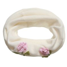 RoRo - Girls Ivory Cashmere Snood Scarf with Flowers