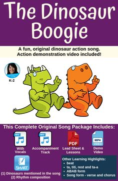 This fun dinosaur action song will have the kids up moving and grooving! This one is great for both classroom and performance. Package includes two recordings, a PDF with lead sheet and lesson ideas, a SMART Notebook file and a demonstration video. Movement Activities, Music Activities, Science Resources, Teaching Activities, Teaching Resources, Easter Activities, Teaching Ideas, Elementary Music Lessons, Elementary Education