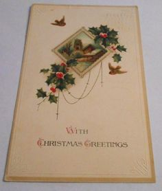 Vintage Postcard Christmas Embossed Birds Germany Divided Back    4301 #Christmas