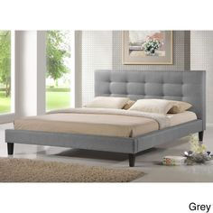 Velma Queen-size Upholstered Bed | Overstock.com Shopping - Great Deals on Baxton Studio Beds
