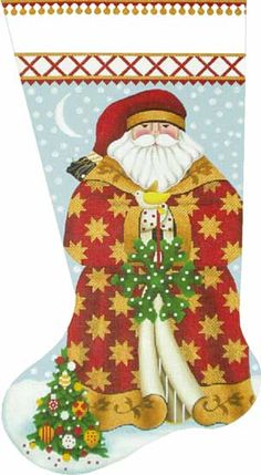 Melissa Shirley Designs | Hand Painted Needlepoint | Golden Star Santa Stocking