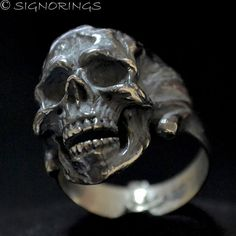 Why People Wear Skull Jewelry? Heart Wedding Rings, Skull Wedding Ring, Skull Engagement Ring, Mens Skull Rings, Silver Skull Ring, Crane, Gothic Rings, Unusual Rings, Coin Ring