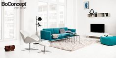 Osaka sofa, tufted seat, the product is available in fabrics and leathers. As shown, turquoise Napoli fabric [Osaka - - BoConcept Boconcept, Danish Furniture, Unique Furniture, Furniture Design, Osaka, Modern Contemporary Living Room, Contemporary Furniture, Living Room Inspiration, Home Decor Inspiration
