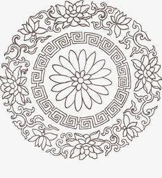 Chrysanthemum pattern, Lotus Edge, Fretted, Line PNG Image - Chinese Element, Chinese Art, Ceramic Painting, Fabric Painting, Mandala Design, Mandala Art, Asian Cards, Stencil Printing, Chinese Patterns