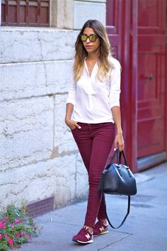 Discover this look wearing Zara Bags, Current Elliott Jeans, Comptoir Des Cotonniers Shirts tagged bds, sneakers - BURGUNDY by FadelaMecheri styled for Casual, Shopping in the Spring Burgundy Pants Outfit, Burgundy Sneakers, Red Pants, Outfits With Converse, Sporty Outfits, Fall Outfits, Vans Outfit, New Balance Bordo, Outfit Pantalon Vino