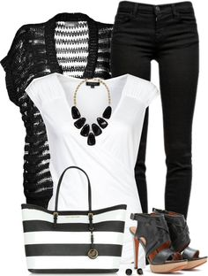 Casual Weekend Black and White Outfit Idea   Outfits Pedia