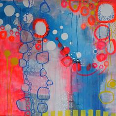 This colorful abstract painting adds a whole lot of energy to your home. The painting measures 90x90cm, and gives space to a wild fight between shades of blue and pink, yellow and white plus a variety of shapes, mostly circles and running lines- something new to discover whenever you