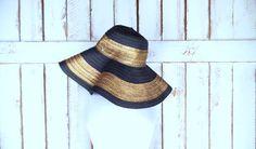 Black/bronze gold striped straw floppy sun hat/woven braided straw pool hat/gardening hat/beach hat by GreenCanyonTradingCo on Etsy