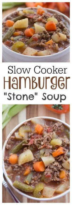 If you need something to throw together and have ready for dinner then this Slow Cooker Hamburger Soup is perfect. It is easy and delicious! Hamburger Dinner Ideas, Recipe For Hamburger Stew, Hamburger Crockpot Meals, Easy Hamburger Soup, Hamburger Crockpot Recipes, Hamburger Dishes, Hamburger Vegetable Soup, Dinner Crockpot, Beef Meals