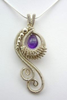 Amethyst Peacock Wire Wrapped Pendant by TwistedBlissDesigns