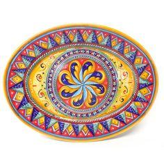 "Deruta Antico Geometrico 16.5X13"" Oval Serving/Wall Platter"