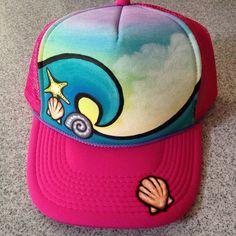 Handpainted pink trucker hat waves and by JulesJewelsJewelry, $25.00