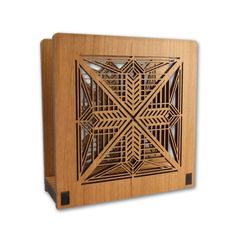 Perfect for dinner napkins or to hold the days mail. The design of this napkin holder is adapted from the entry hanging light fixture in the Susan Lawrence Dana House, designed by Frank Lloyd Wright i