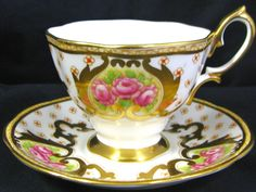 Royal Albert HP Roses Beaded Floral Gold