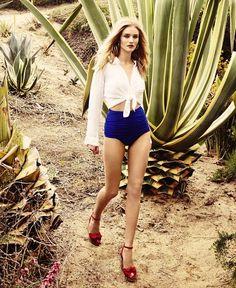 Rosie Huntington-Whiteley: Shirt, Maje - Bikini briefs, Norma Kamali - Sandals, Charlotte Olympia - Earrings,  Ippolita