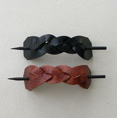 Mystery Braid Leather Hair Barrettes
